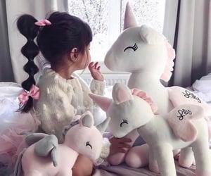 girl, baby, and unicorn image