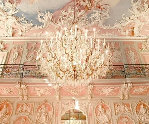 pink, art, and chandelier image