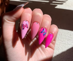 butterflies, color, and nail art image