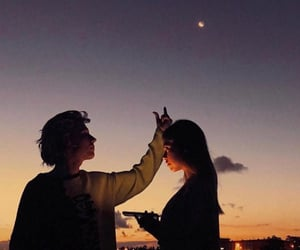 couple, lovers, and sky image