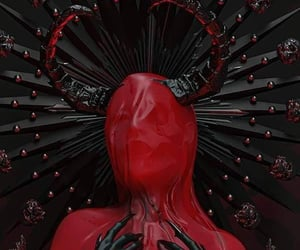 art, horror, and red image