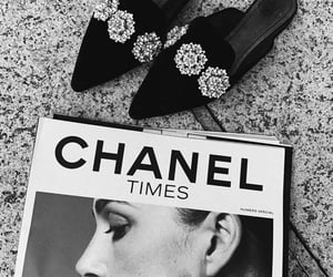 chanel, black and white, and shoes image