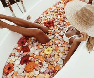 bath, chic, and flowers image