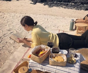 beach, book, and cozy image