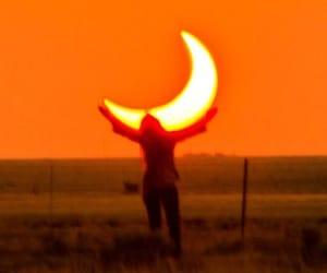 orange, moon, and aesthetic image
