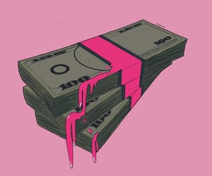 art, money, and pink image