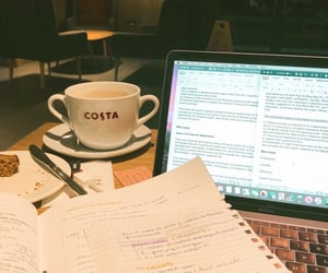 books, coffee shop, and college image