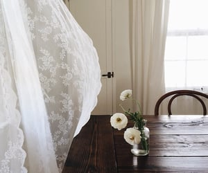 home, white, and flowers image