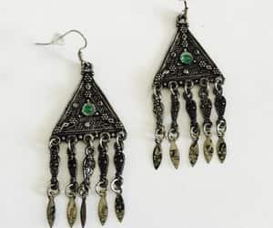 gypsy earrings, filigree earrings, and green cabochon image
