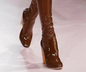 brown, latex, and knee high boots image