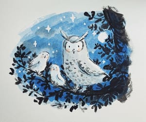 illustration, moon, and owl image