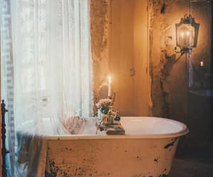 bathroom, bathtub, and candle image