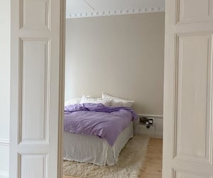 bedroom, interior, and purple image