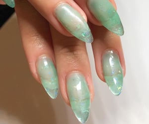 nails, green, and girl image