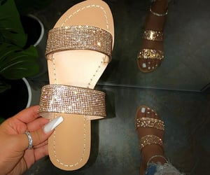 glitter, gold, and sandals image