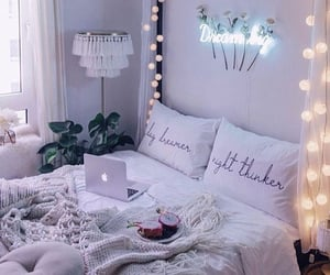 bedroom, light, and cozy image