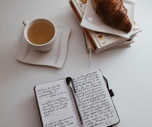 aesthetic, books, and croissant image