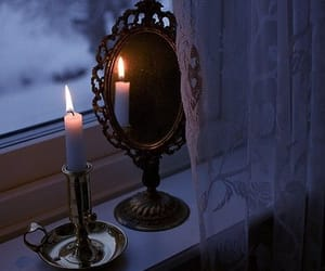 candle, mirror, and aesthetic image