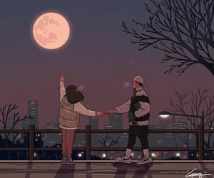 couple, love, and illustration image