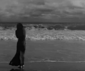 beach, black and white, and gif image