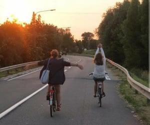 bike, sunset, and tumblr image