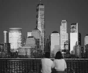 black and white, city, and couple image