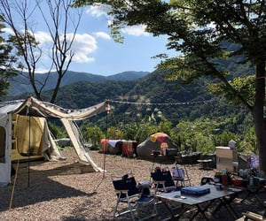 camping, cozy, and green image