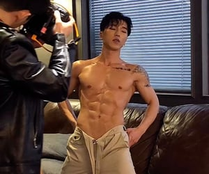 abs, asian, and man image