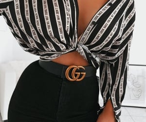 belts, black & white, and long image