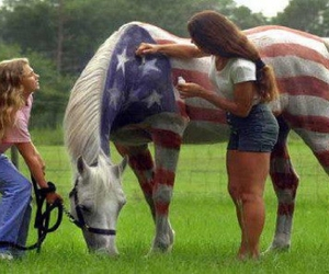 horse, america, and girl image