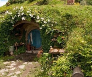 flowers, cottage, and hobbit image