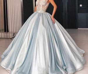 elegant prom dress, blue prom dress, and crystals prom dresses image