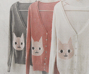 cat, fashion, and cardigan image