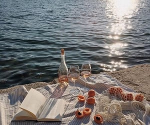 summer, book, and water image