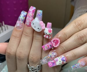 colorful nails, hello kitty, and kawaii image