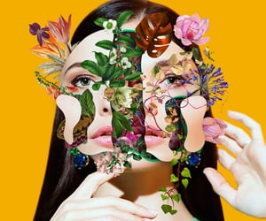 flowers, woman, and art image