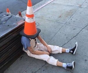 edgy, mood, and traffic cone image