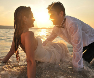 couple, wet, and beach image