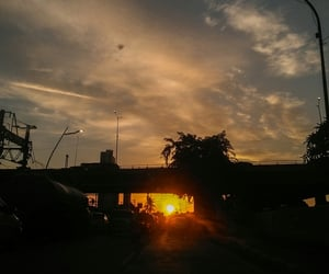 places, road, and sunrise image