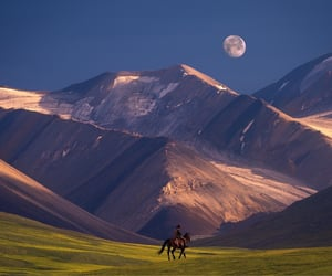 moon, mountains, and horserider image