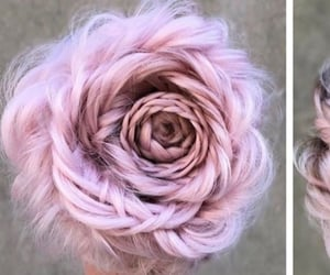 baby pink, braided hair, and rose image