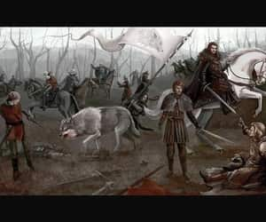battle, direwolf, and westeros image