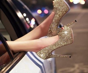 glam, gold, and stiletto heels image