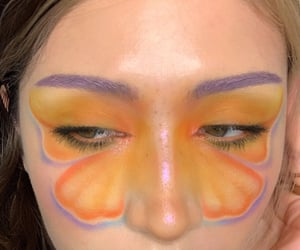 blue, butterfly, and makeup image