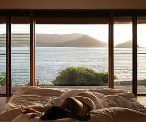 view, bed, and ocean image