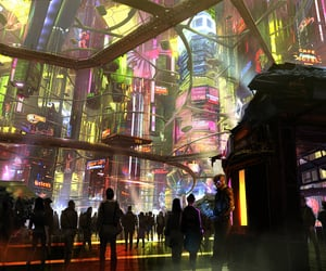 city and cyberpunk image