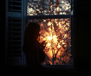 girl, autumn, and light image
