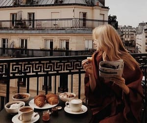 girl, coffee, and travel image
