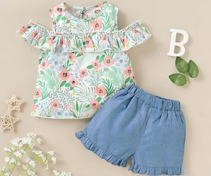baby clothes, fashionable set, and girls image