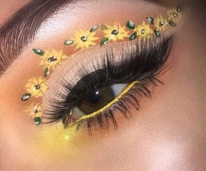 makeup, yellow, and flowers image